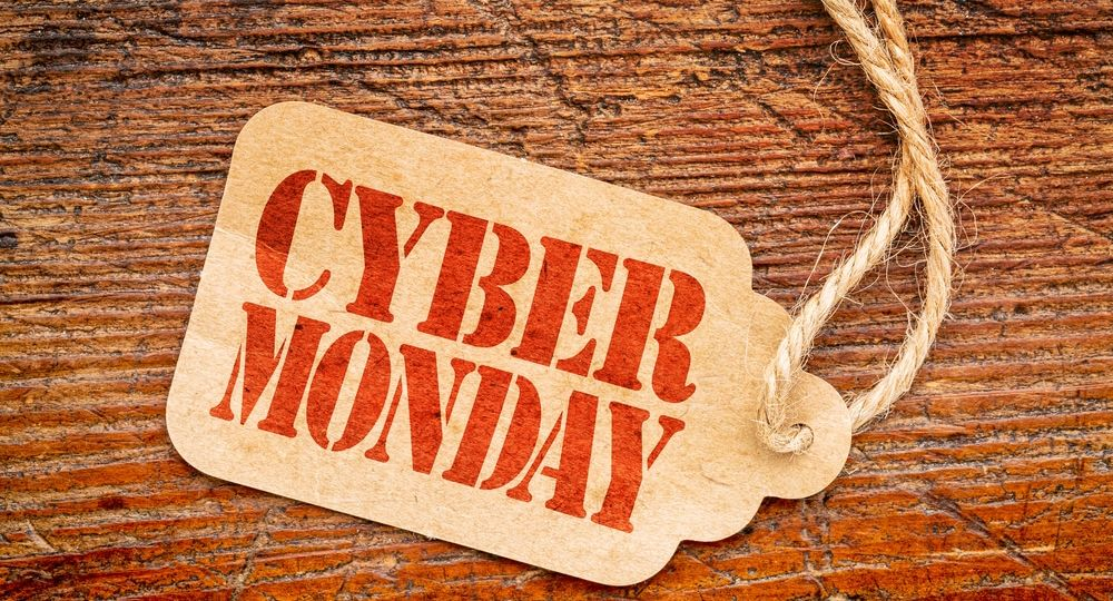 Cyber Monday sign on price tag