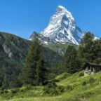 The Matterhorn seen from the village Zermatt, Switzerland
