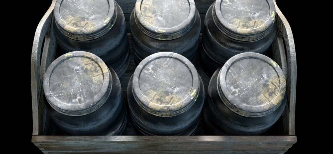 Whiskey Jars In A Crate